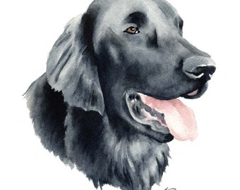 Flat Coated Retriever Dog Art Print Signed by Artist DJ Rogers