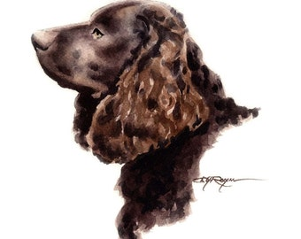 AMERICAN WATER SPANIEL Dog Art Print Signed by Artist D J Rogers