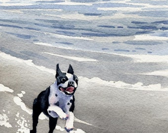 BOSTON TERRIER Art Print Signed  by Watercolor Artist DJ Rogers