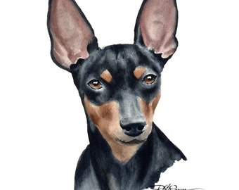 MINIATURE PINSCHER Art Print Signed by Artist DJ Rogers