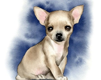 CHIHUAHUA PUPPY Dog Art Print Signed by Artist DJ Rogers