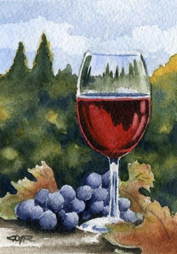WINE GLASS Watercolor Signed Fine Art Print by Artist DJ