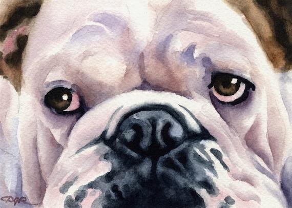 Bulldog Art Print Signed by Artist DJ Rogers