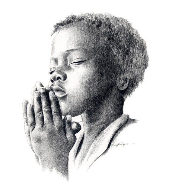 PRAYING CHILD Pencil Drawing Art Print Signed by Artist DJ