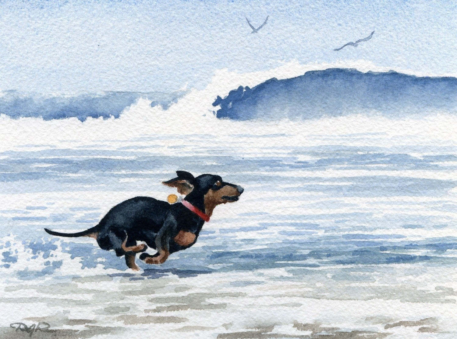 Dachshund At The Beach Dog Watercolor Signed Fine Art Print By