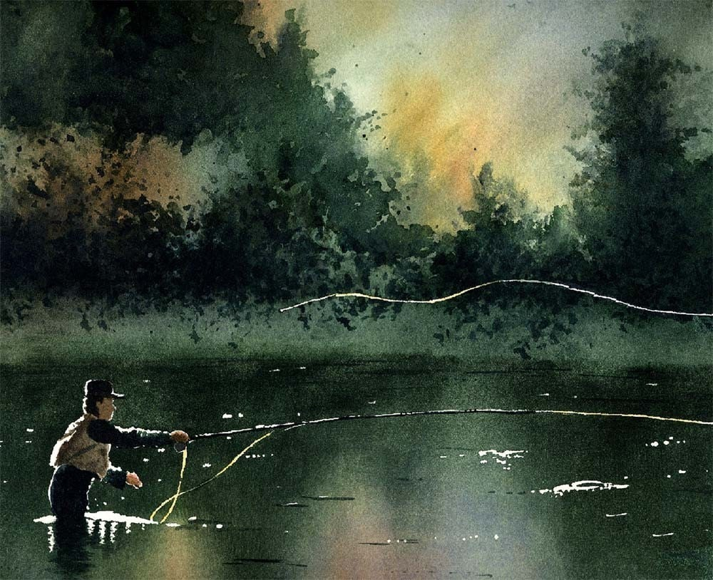 Fly fishing art print rhythm and grace signed by by for Fly fishing art