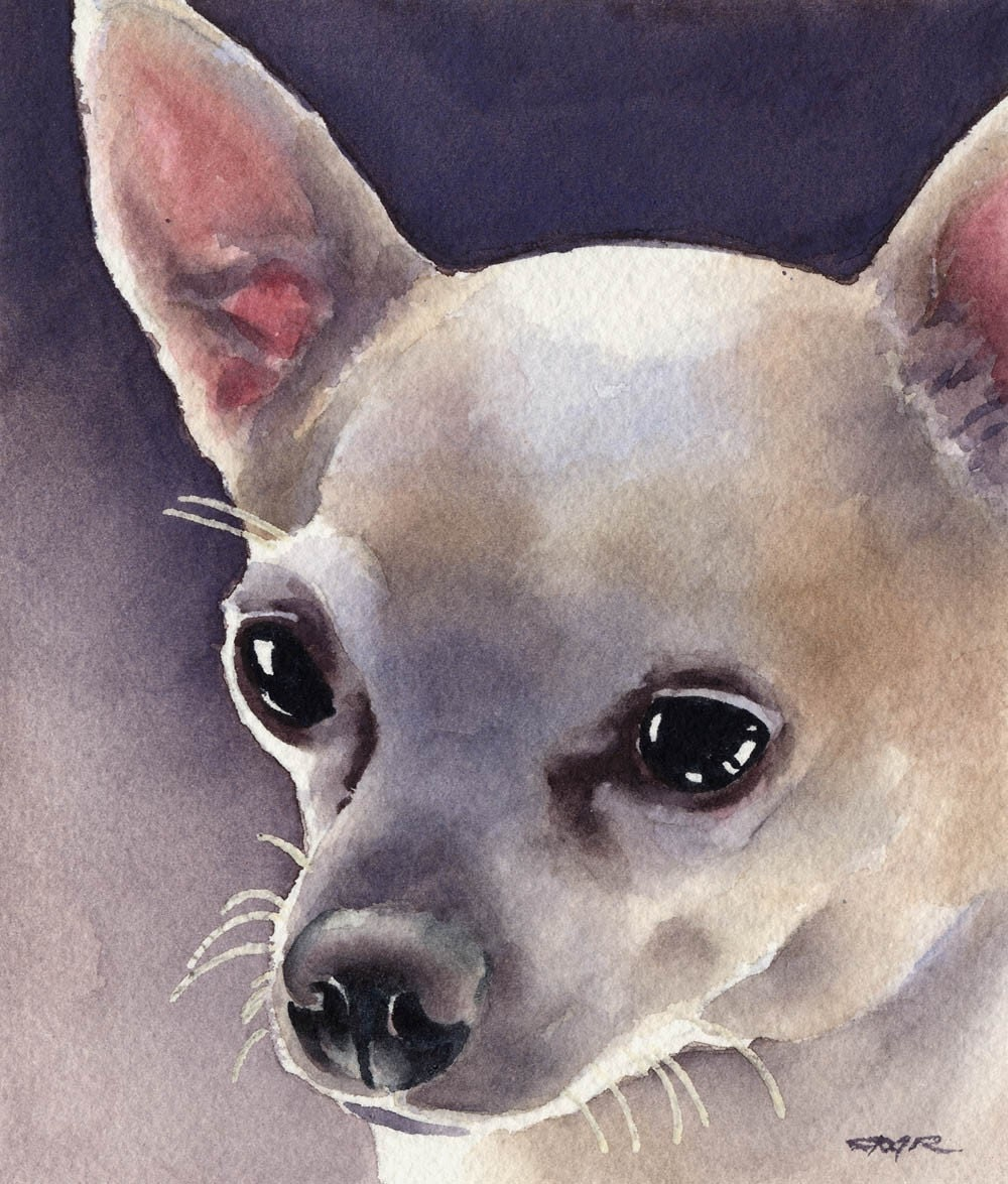 Chihuahua art print signed by artist dj rogers for Dog painting artist