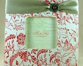 RESERVED- Red Floral shabby chic frame