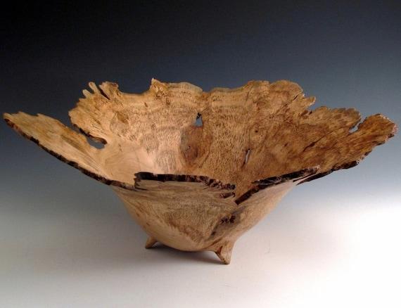 Large Natural Edge Cherry Burl  Hand Turned Wood Bowl