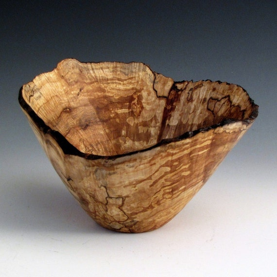Spalted Maple Wood Turned Bowl with Naturl Edge