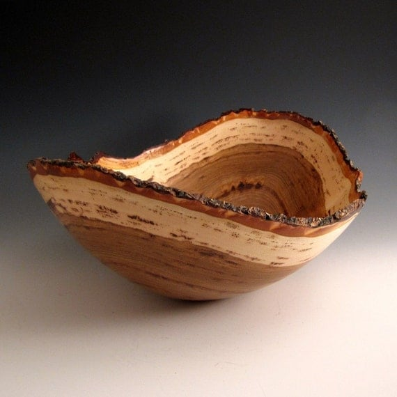 Natural Bark Edge Hickory Wood Turned Bowl