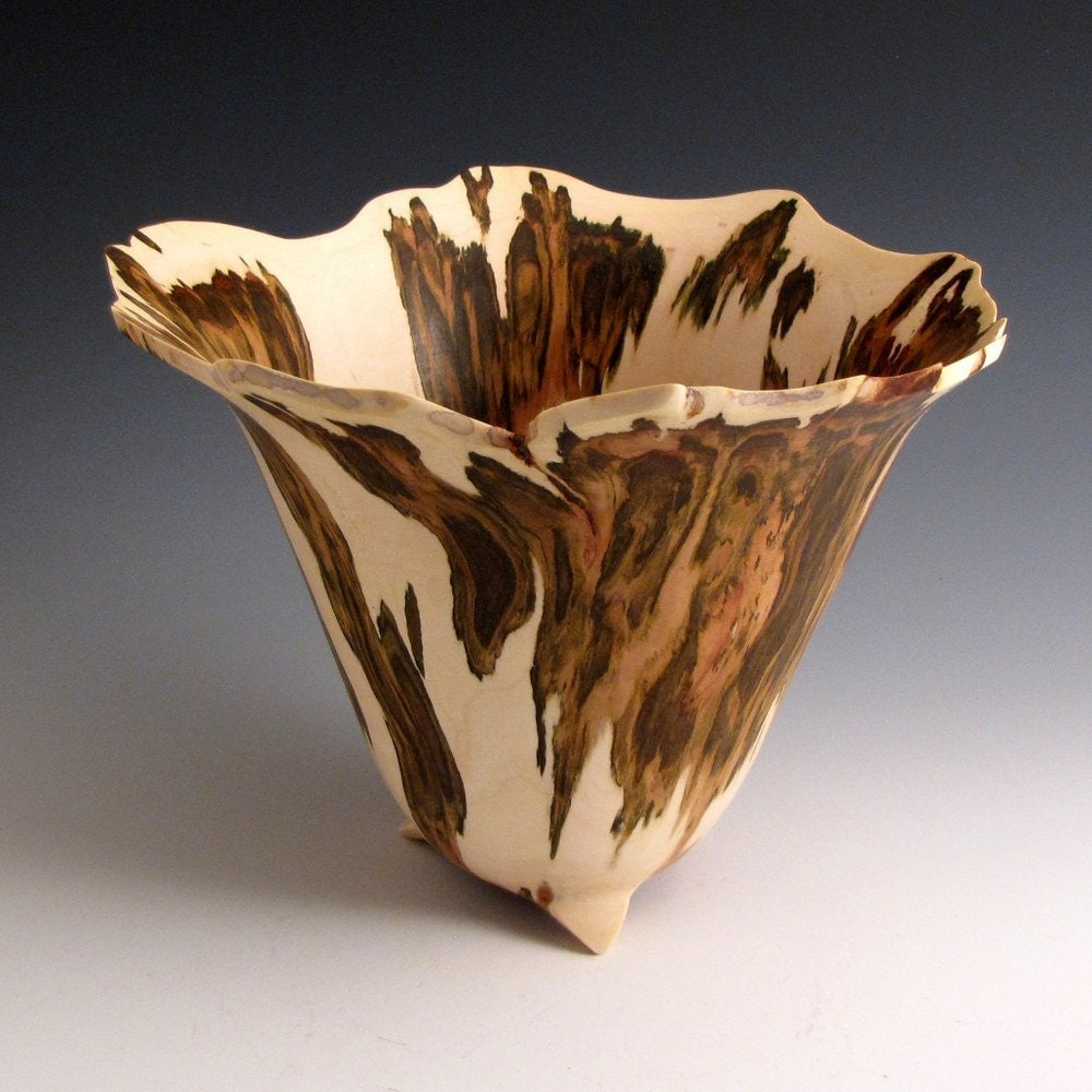 Artistic Natural Edge Maple Burl Wood Turned Bowl