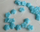 50 pieces of  Czech Glass 5 Petals Little Flowers Beads - Turquoise