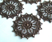 6 pieces of Dainty European Antique Copper OR Antique Silver plated Filigree Flower Focal Components