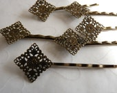 12 pieces of Antique Brass Color Bobby Pins with 15x15 mm Filigree Diamond Shape Pad -- 59 mm