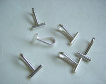6 Pieces of Silver Plated OR Gold Plated Brooch/Pin Converter Bail -- Horizontal, 21x13.5mm (You Pick The Color)