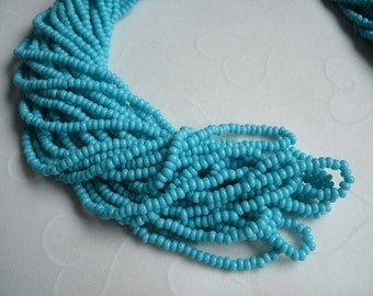 One hank of Czech Opaque Turquoise Blue seed beads - 0519 size 11