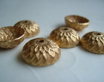 10 Pieces of Acorn Bead Caps in Gold Plated Color -- 13 mm