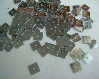 7 g of 7mm Square Sequins in Metallic Silver Color (approximately 400 ct.)