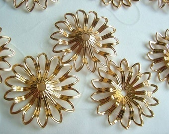 12 pieces of  Gold Plated or Silver Plated Filigree Flower Component -- 23mm (U Pick the Color)