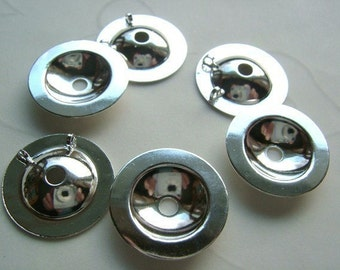 12 Pieces of Lead Safe Silver Plated Button Bezels (Converter) -- 15 mm
