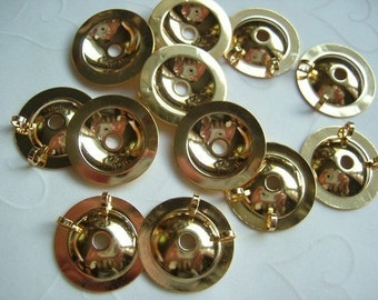 12 Pieces of Lead Safe Gold Plated Button Bezels (Converter) -- 20 mm