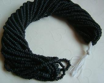 One hank of Czech Matte Opaque Black seed beads - 0908 size 8