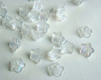 20 pieces of Czech Glass Trumpet Flower Beads in Luster Crystal AB Color -- 13x8 mm