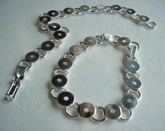 3 pieces of Silver Plated 12 Round Links Steel Bracelets -- 7-1/2 inches