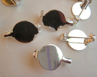 20 Pieces of Silver Plated OR Gold Plated Flat Back Button Bezel with Pin -- 13 mm (You Pick The Color)