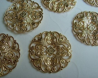 12 pieces of Gold Plated OR Silver Plated Filigree Round Focal Components - 22 mm (You Pick The Color)