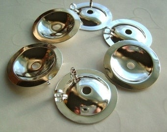 12 Pieces of Lead Safe Silver Plated Button Bezels (Converter) -- 25 mm