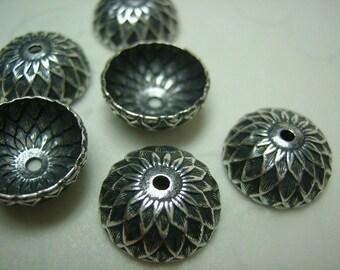 10 Pieces of Acorn Bead Caps in Antique Silver Color -- 13 mm