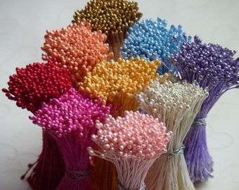 1 Bundle of Double Sided Pearl Cone FINE TIP Floral Stamen (You Pick The Color)