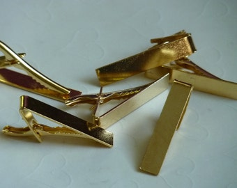 6 Pieces of Gold Plated Tie Clips -- 42x8 mm