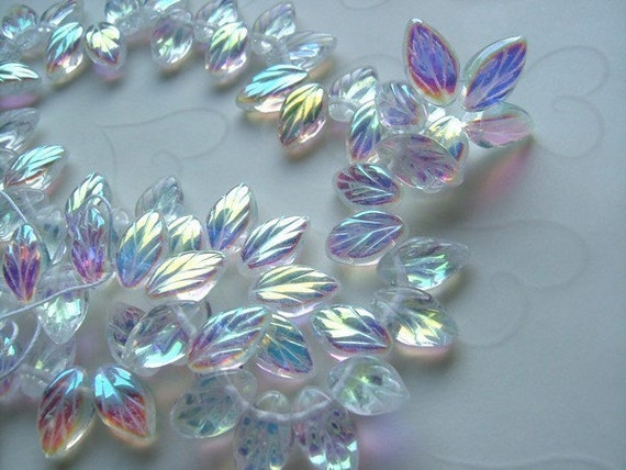 Last Pack -- 25 pieces of Czech Glass Leaf Beads in Crystal AB Color - 12x6mm