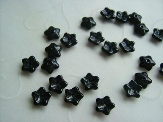 50 pieces of Czech Glass 5 Petals Little Flowers Beads - Black