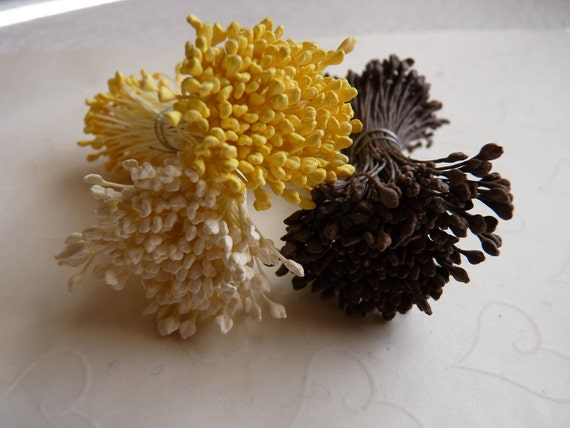 Reserve for arkbirdlady only -- 4 Bundles of Floral Stamen with Double Sided Matte Tiny Tips in Golden Yellow Color
