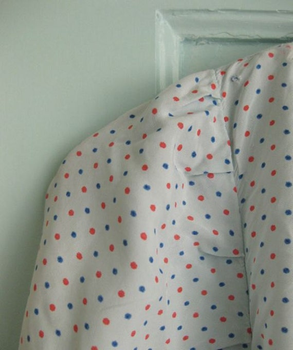 1940s pin dot rayon nightgown - S