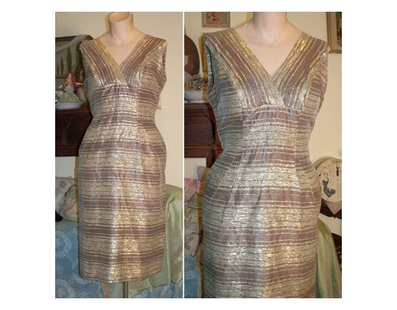 HOLD FOR SUSIE - Vintage 1950s Metallic Gold and Brown Fitted Bombshell Dress - fits 38 inch bust