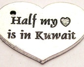 Half my Heart is in Kuwait charms 5 pieces