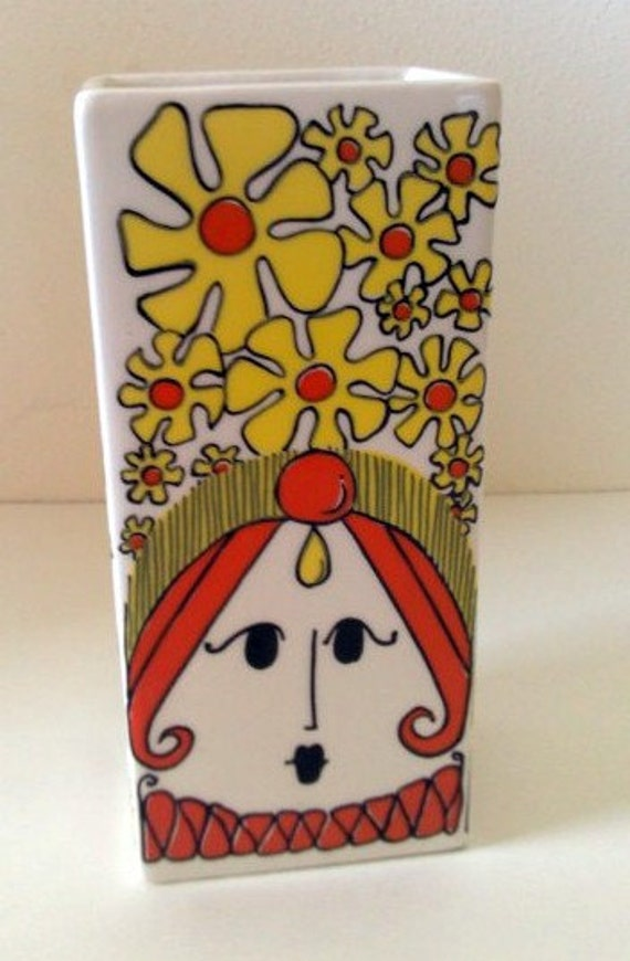 Mod Lady Vintage Groovy Floral Vase with Orange & Yellow