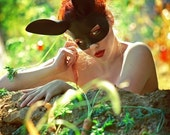 Bunny leather mask in black