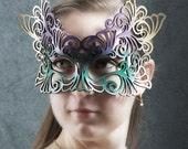 Rococo leather mask in Mardi Gras colors