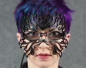Filigree Flame leather mask in eyeglasses