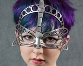 Dragonfly leather mask in silver