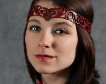 Nouveau Deco leather head wreath in red