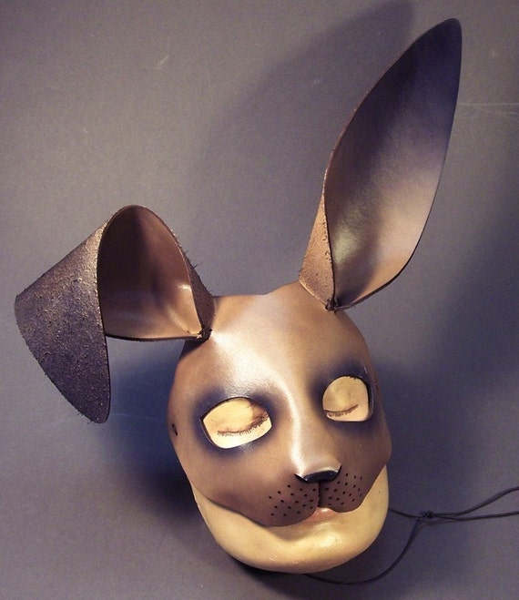 March Hare Alice In Wonderland: March Hare Leather Mask