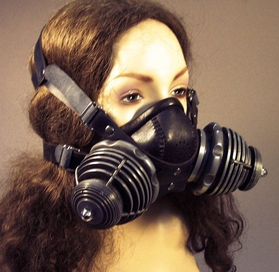 Steampunk respirator gas mask in black leather