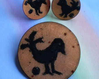 Vintage 50s Modern Copper Enamel Bird Pin Earrings
